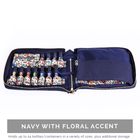 Hand-Stitched Italian Essential Oil Travel Case Collection Cases BAGEO Navy with Floral Accent (Liberty of London)