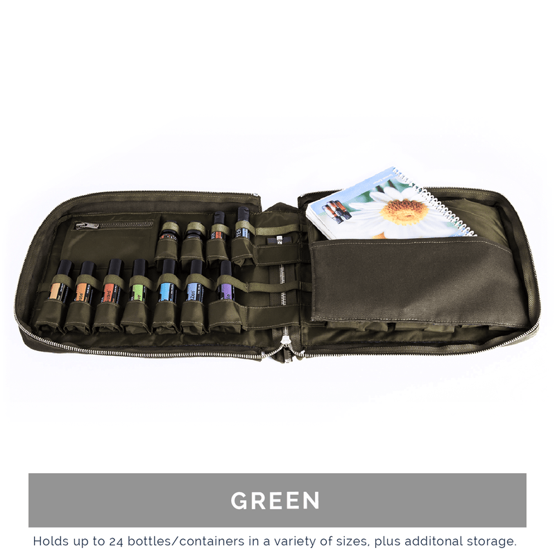 Hand-Stitched Italian Essential Oil Travel Case Collection Cases BAGEO Green