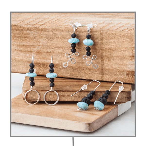 Lava & Larimar Diffuser Earring Collection Diffuser Jewelry Batey Girls - eos - Easy Oil Solutions - doterra - essential oils