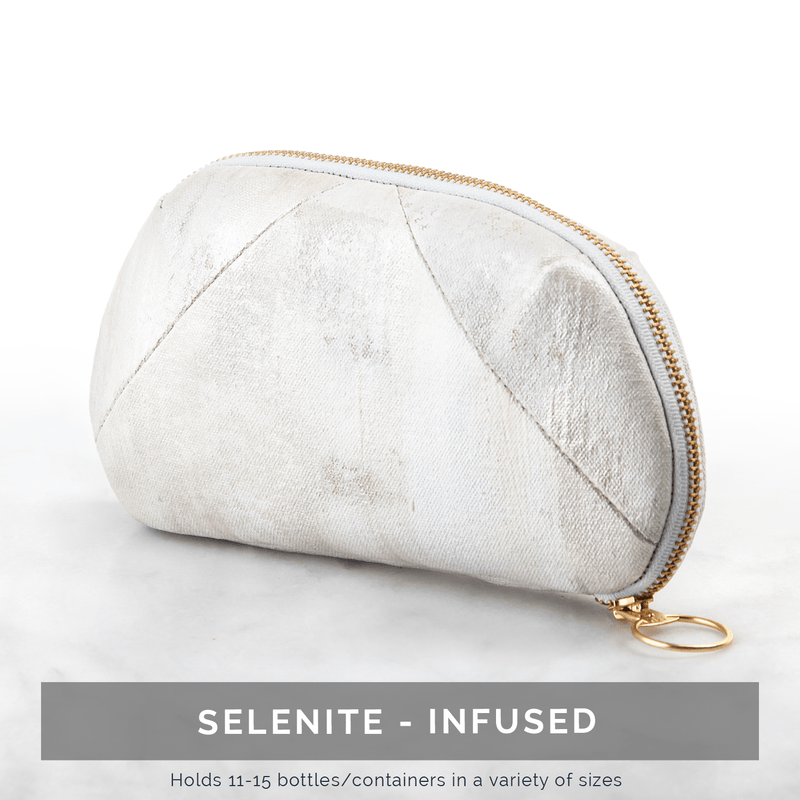Luxury Gemstone-Infused Clutch Collection Fabric Bags Go-Alignment Selenite NO