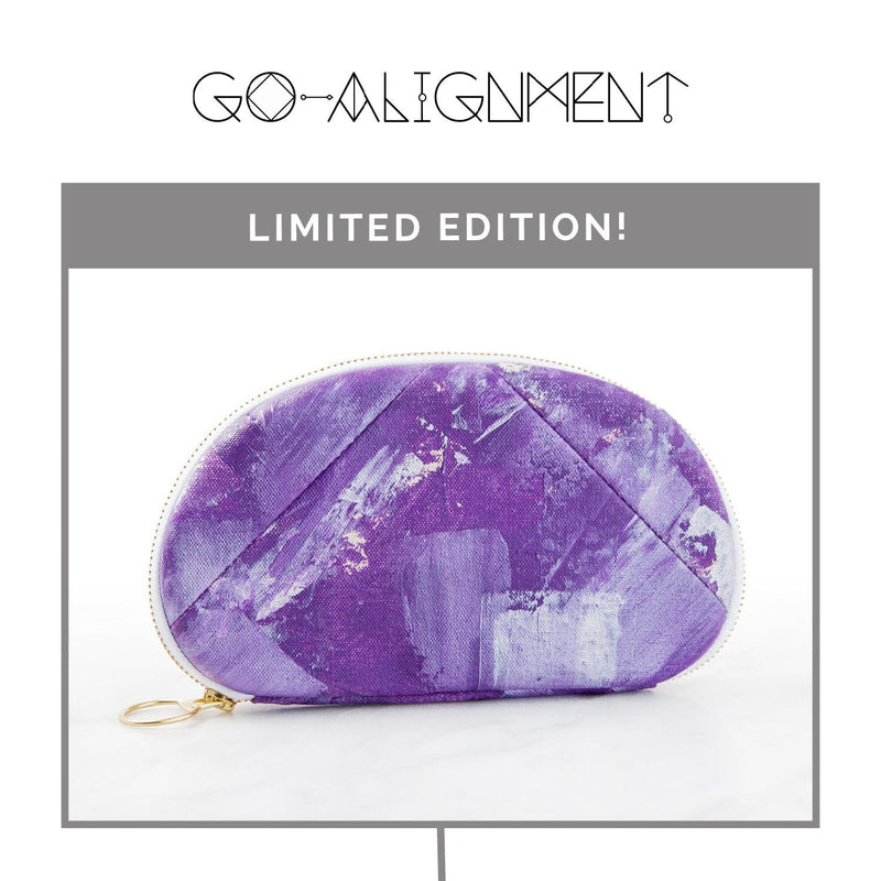 Amethyst Quartz Gemstone-Infused Clutch Fabric Bags Go-Alignment