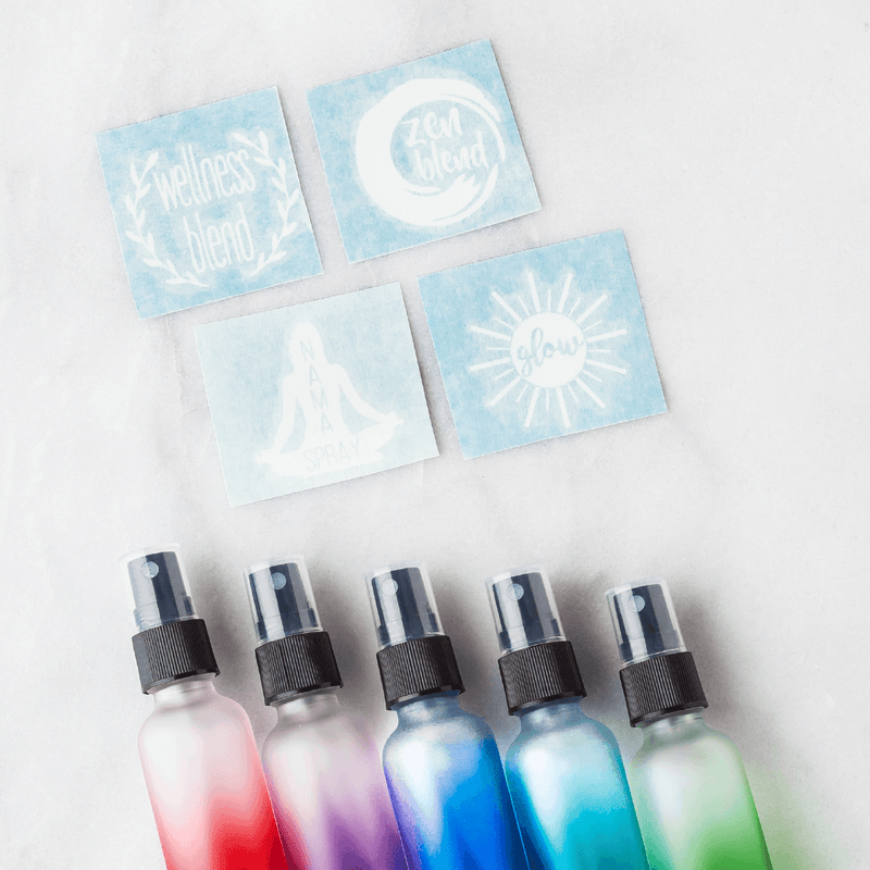 Emotional/Mood Decal Kit (Set of 4) Containers & Accessories Oils All The Time Emotional/Mood Decal Kit YES - Pack of 5 Ombré 1 oz Spray Bottles