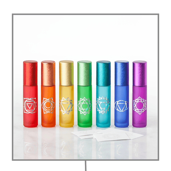 Holographic Chakra Collection |  Decal Kit & Luxury Gemstone Rollerballs Containers & Accessories Oils All The Time - eos - Easy Oil Solutions - doterra - essential oils