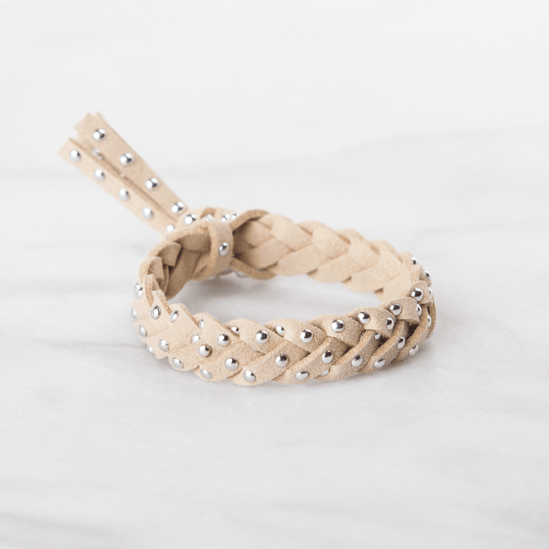 Studded Leather Diffuser Bracelet Collection Diffuser Jewelry Put On Love Designs Caramel Cream Silver-Studded Bracelet