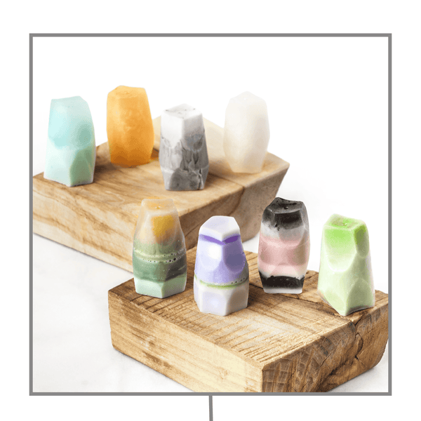 Handmade Mini Gemstone Soap Collection Wood&Oils