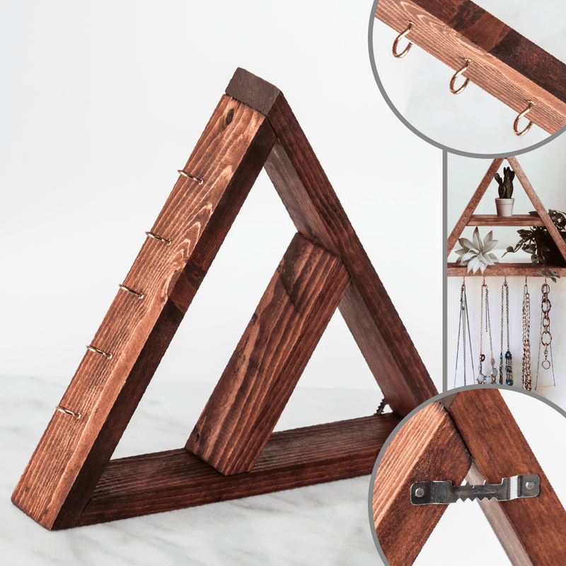 Handmade Wood Oil Shelves Wood Oil Holders Wood&Oils Triangle (with Jewelry Hooks) Dark Stain