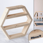 Handmade Wood Oil Shelves Wood Oil Holders Wood&Oils Hexagon Unfinished Wood