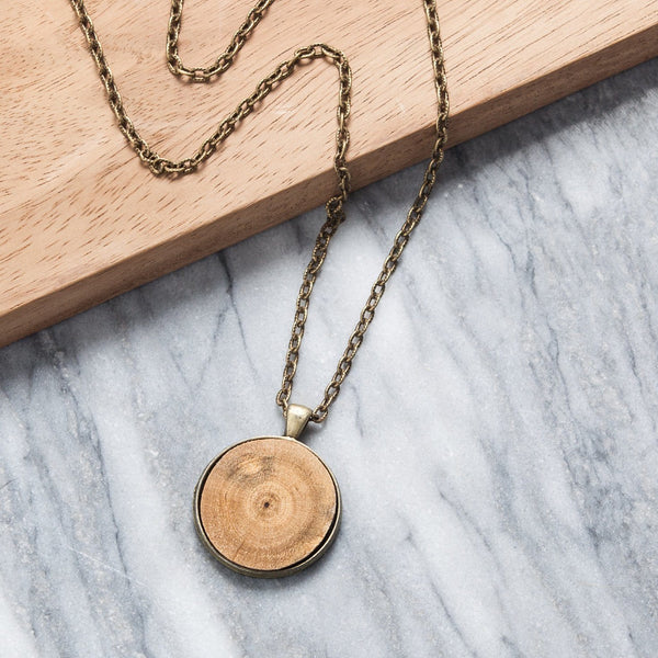 Wood Diffuser Pendant Necklace