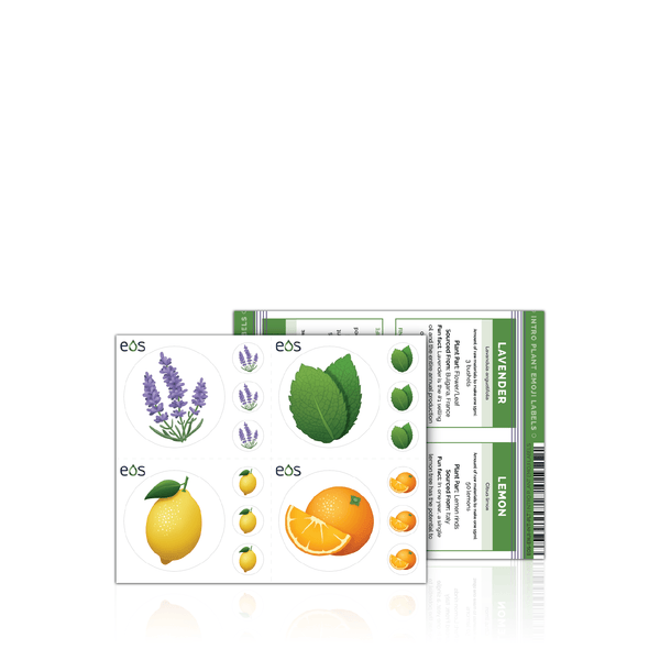 Intro Plant Emoji Labels (1 Sheet) Containers & Accessories eos - Easy Oil Solutions