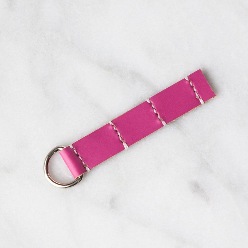 Handmade Leather Sample Keychains Accessories Hive Leather Geranium Pink