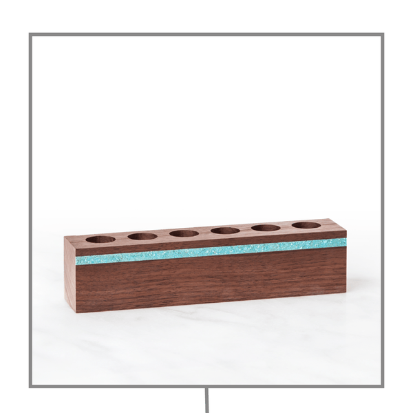 Kindred Essentials Luxury Wood & Turquoise Oil Holder (6 10mL Holes) Wood Oil Holders Kindred Essentials
