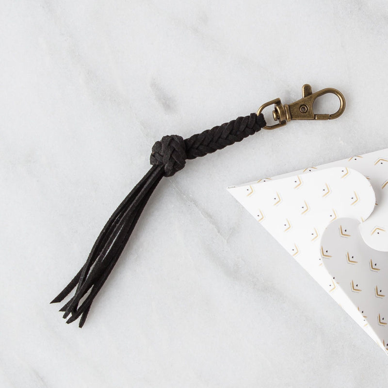 Leather Diffuser Jewelry - Foundation Collection Diffuser Jewelry LoilJ Braided Tassel Keychain Obsidian