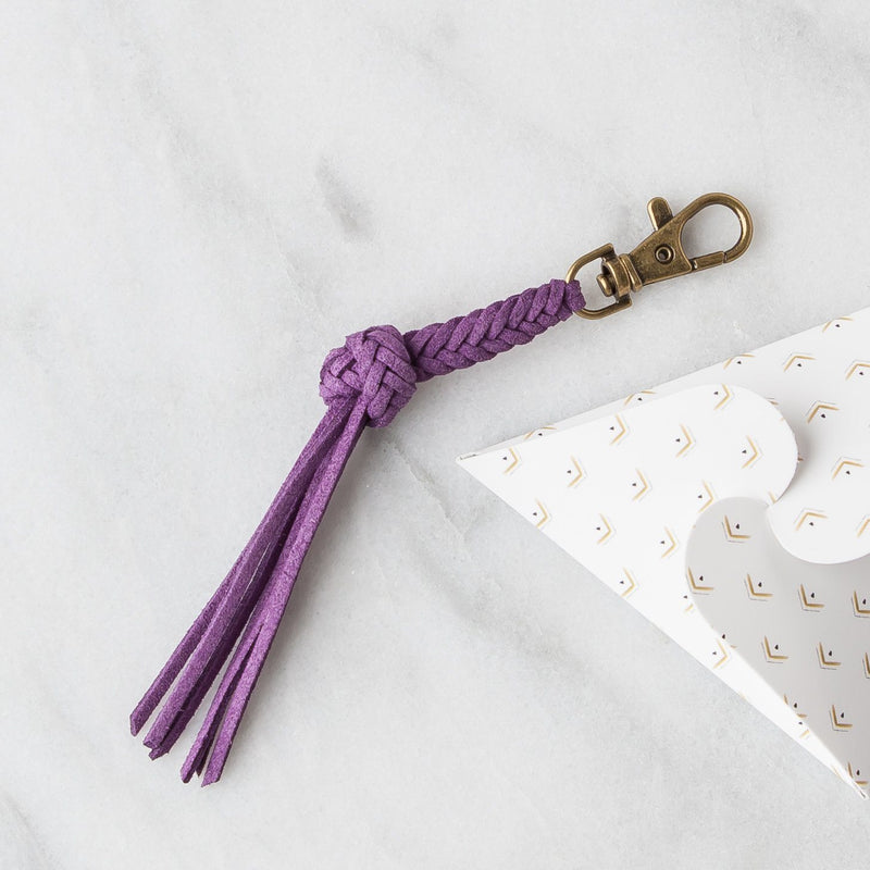 Leather Diffuser Jewelry - Foundation Collection Diffuser Jewelry LoilJ Braided Tassel Keychain Violet