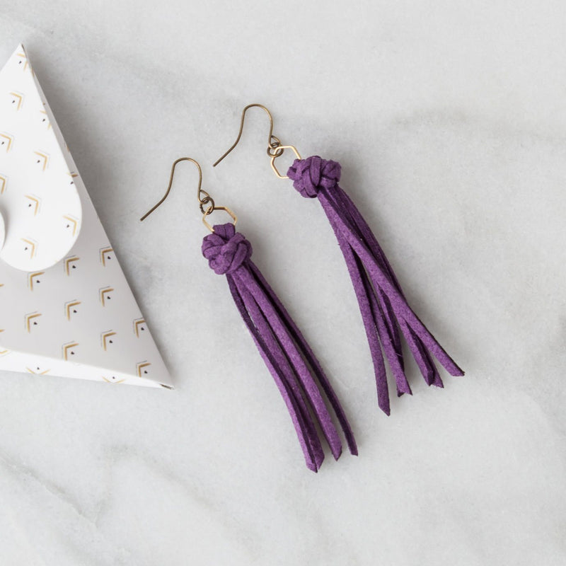 Leather Diffuser Jewelry - Foundation Collection Diffuser Jewelry LoilJ Tassel Earrings Violet