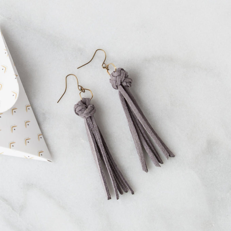 Leather Diffuser Jewelry - Foundation Collection Diffuser Jewelry LoilJ Tassel Earrings Stone