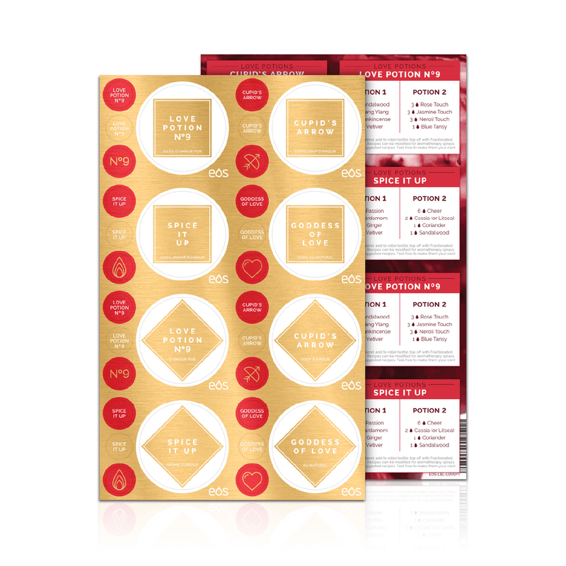 Love Potions Luxe Labels with Recipes (1 Sheet) Containers & Accessories eos - Easy Oil Solutions NO