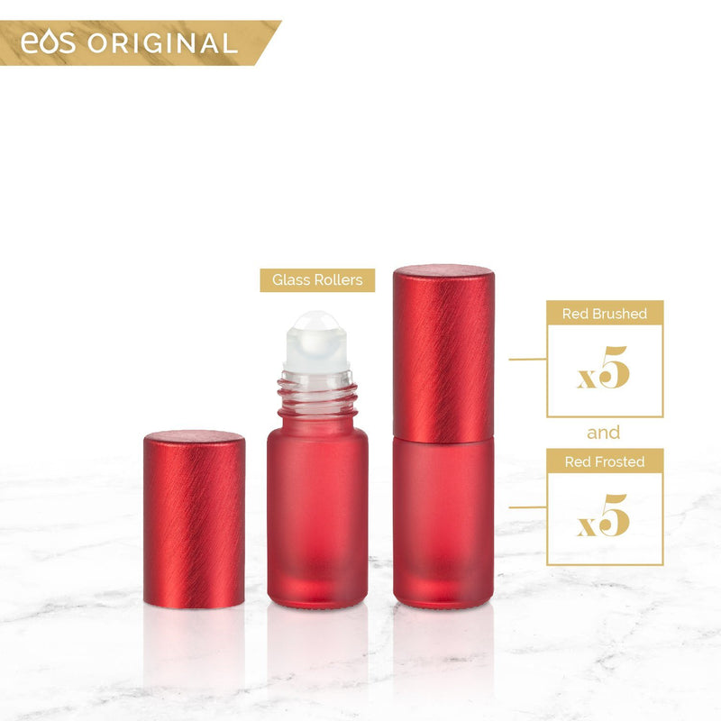 EOS Rainbow Luxe Collection | 5mL Roller Bottle (Packs of 5 or 7) Containers eos - Easy Oil Solutions Red Frosted Bottle & Cap (Pack of 5)