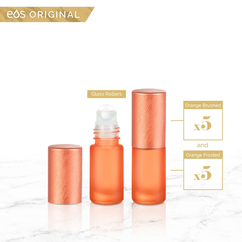 EOS Rainbow Luxe Collection | 5mL Roller Bottle (Packs of 5 or 7) Containers eos - Easy Oil Solutions Orange Frosted Bottle & Cap (Pack of 5)