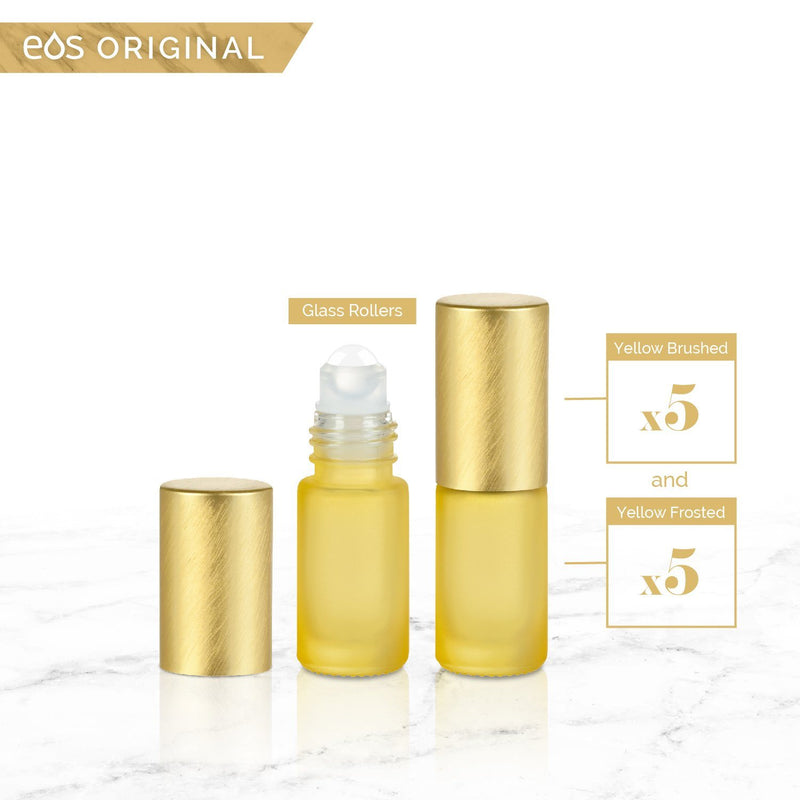 EOS Rainbow Luxe Collection | 5mL Roller Bottle (Packs of 5 or 7) Containers eos - Easy Oil Solutions Yellow Frosted Bottle & Cap (Pack of 5)