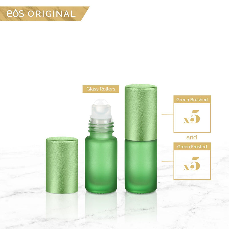 EOS Rainbow Luxe Collection | 5mL Roller Bottle (Packs of 5 or 7) Containers eos - Easy Oil Solutions Green Frosted Bottle & Cap (Pack of 5)