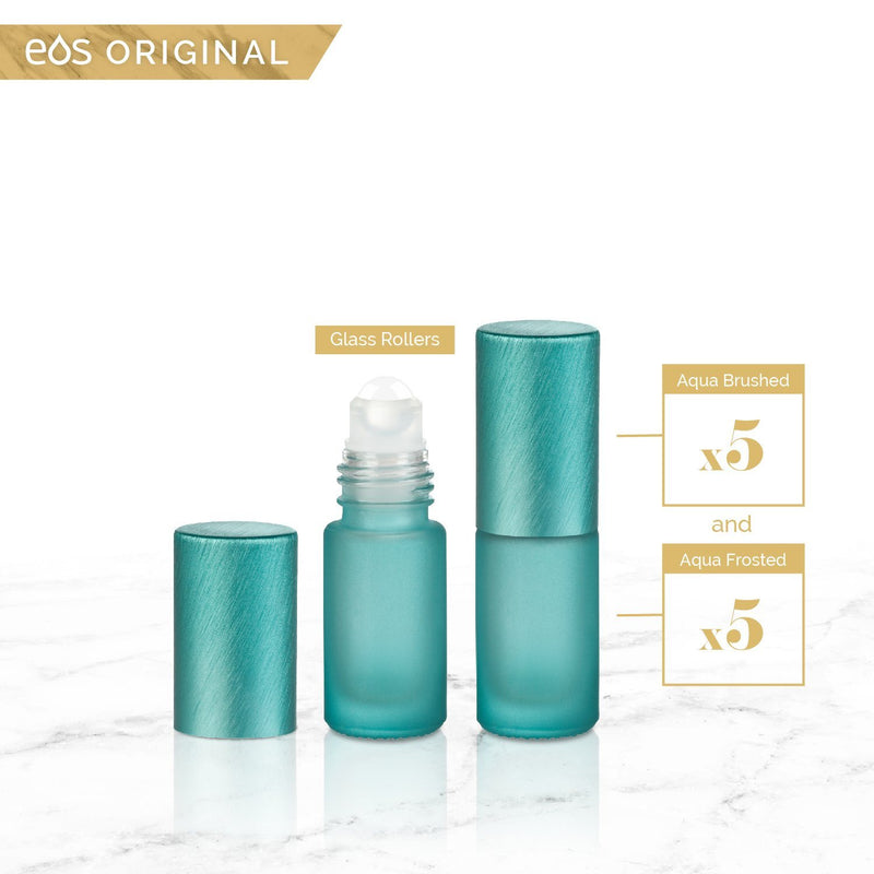 EOS Rainbow Luxe Collection | 5mL Roller Bottle (Packs of 5 or 7) Containers eos - Easy Oil Solutions Aqua Frosted Bottle & Cap (Pack of 5)