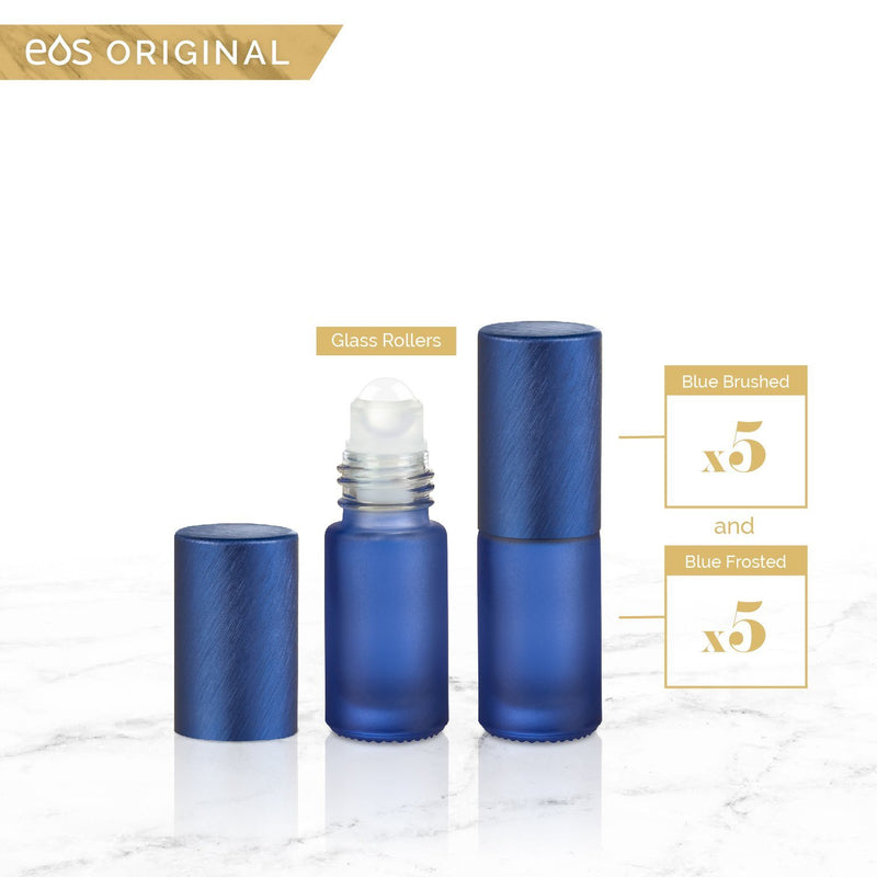 EOS Rainbow Luxe Collection | 5mL Roller Bottle (Packs of 5 or 7) Containers eos - Easy Oil Solutions Blue Frosted Bottle & Cap (Pack of 5)
