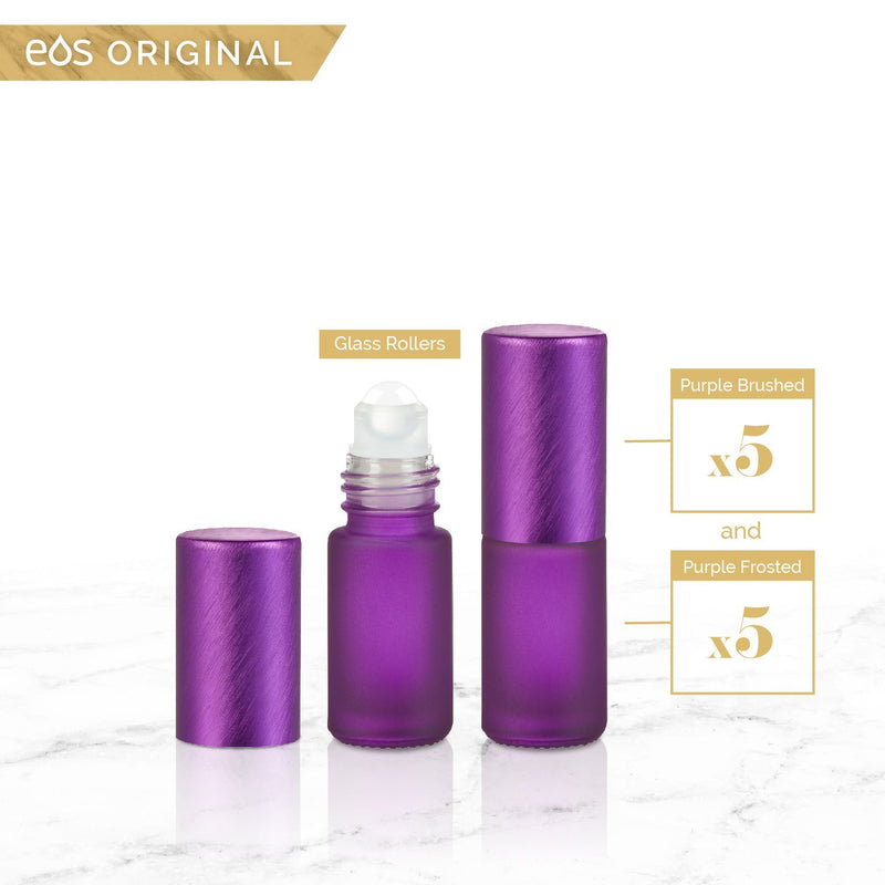 EOS Rainbow Luxe Collection | 5mL Roller Bottle (Packs of 5 or 7) Containers eos - Easy Oil Solutions Purple Frosted Bottle & Cap (Pack of 5)