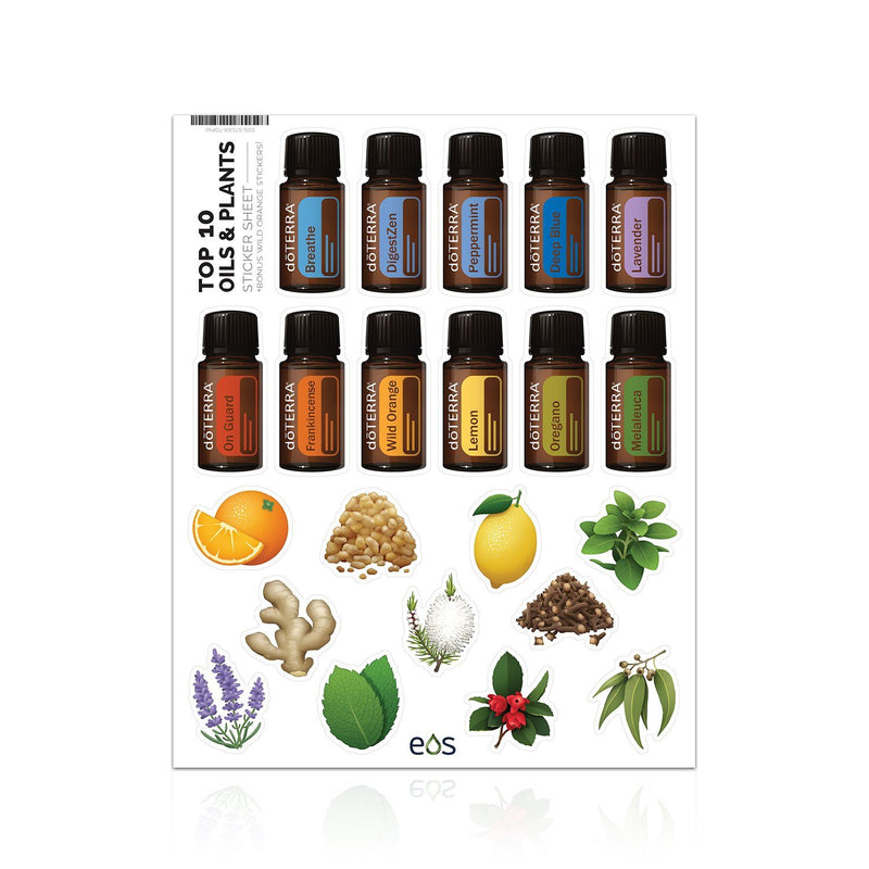 Top 10 Oils & Plants Sticker Sheet (22 Stickers)