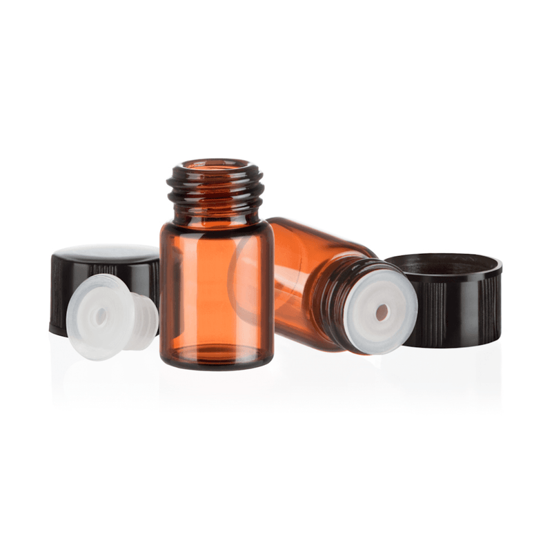 CLEARANCE! | 5/8 Dram Amber Glass Sample Bottle (36 or 144 pack) Containers eos - Easy Oil Solutions