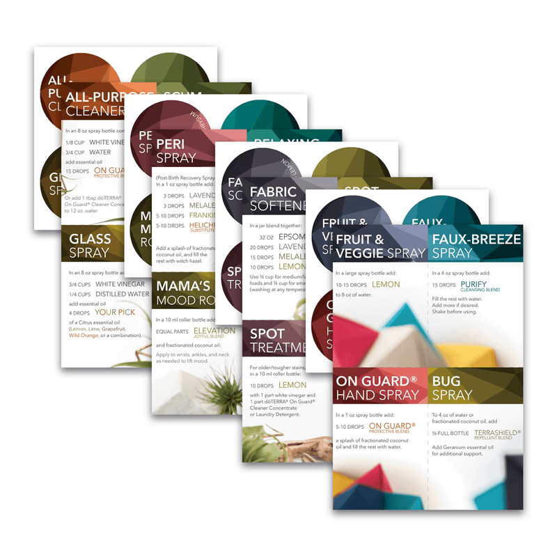 Mix Pack | DIY Cards with Labels: Mix Pack (Mix Pack of 4 Cards & Labels - 16 Recipes) Tools Sharing Made Simple - eos - Easy Oil Solutions - doterra - essential oils