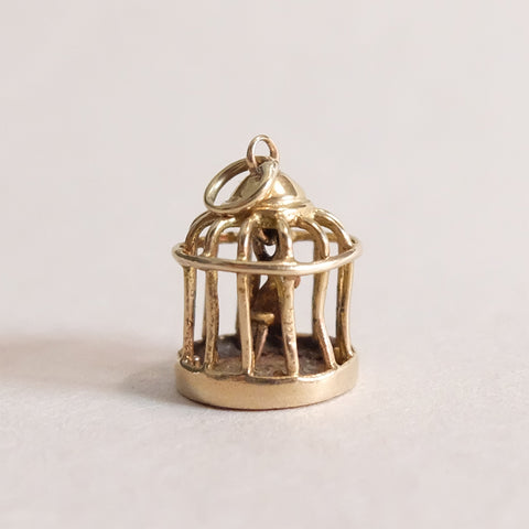 Vintage 9ct Gold Charm - Bird Cage Charm for charm bracelets