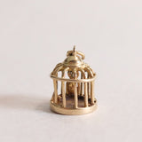 Vintage 9ct Gold Charm - Bird Cage Charm with tiny gold bird