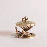 Vintage 9ct Gold Charm - moving Fairground Carousel / Merry-Go-Round with 2 horses - side