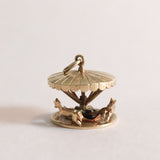 Vintage 9ct Gold Charm - moving Fairground Carousel / Merry-Go-Round with 2 horses