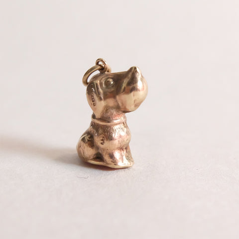 Vintage 9ct Gold Sitting Dog Charm