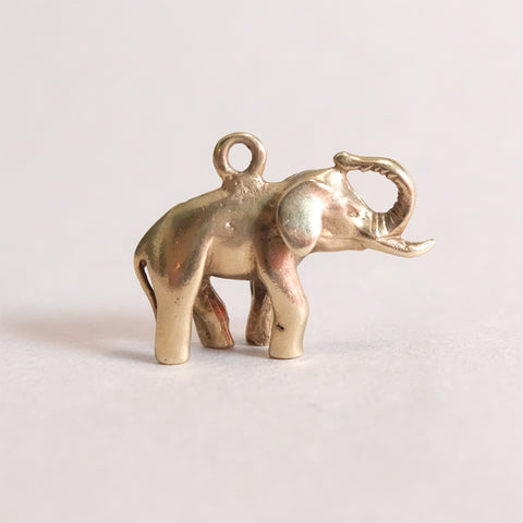 Vintage 9ct Gold Charm - Gold Elephant Charm
