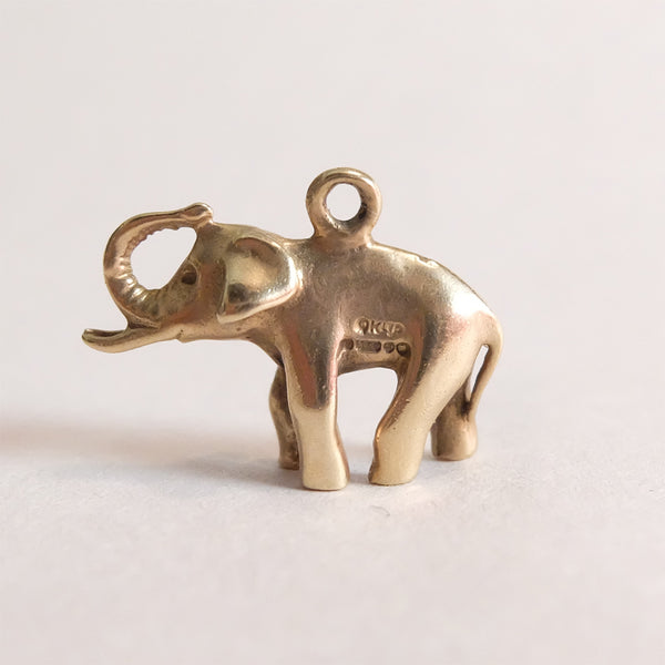 Vintage 9ct Gold Charm - Gold Elephant Charm - from right