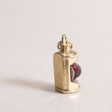 Vintage 9ct Gold Charm - Gold Lantern Charm - back with gold markings