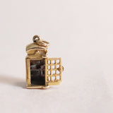 Vintage 9ct Gold Charm - Telephone Box Charm for charm bracelets and chains - tiny telephone inside