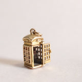 Vintage 9ct Gold Charm - Telephone Box Charm for charm bracelets and chains