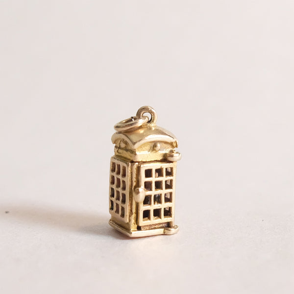 Vintage 9ct Gold Charm - Telephone Box Charm for charm bracelets and chains - door closed