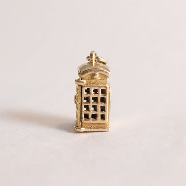 Vintage 9ct Gold Charm - Telephone Box Charm for charm bracelets and chains - side