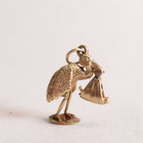 Vintage 9ct Gold Stork & New Baby Charm