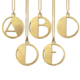 Gold Art Deco Initial Letter E Pendant Necklace