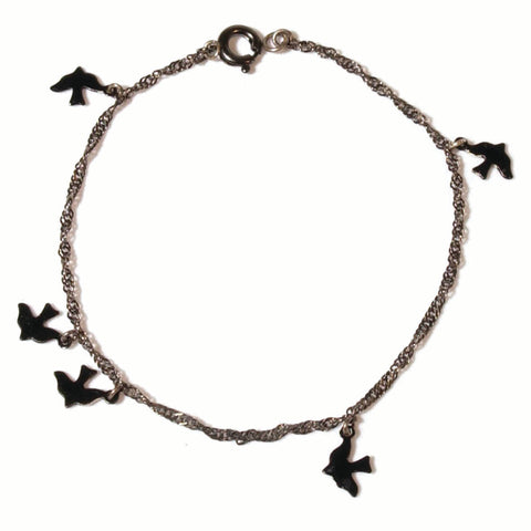 alice eden enamelled black bird charm bracelet