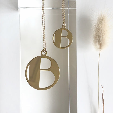 Gold Art Deco Initial Letter B Pendant Necklace