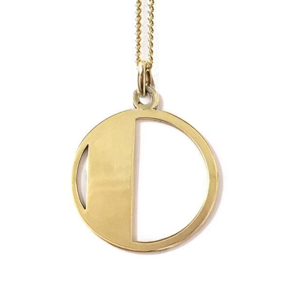Gold Art Deco Initial Letter D Pendant Necklace