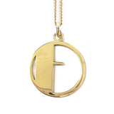 Gold Art Deco Initial Letter F Pendant Necklace