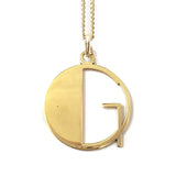 Gold Art Deco Initial Letter G Pendant Necklace