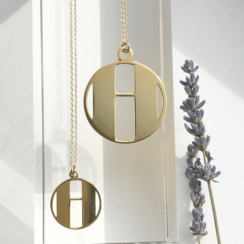 Gold Art Deco Initial Letter H Pendant Necklace